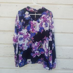 NWT The Limited Purple Floral Print Blouse